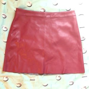 red faux leather forever 21 miniskirt worn once